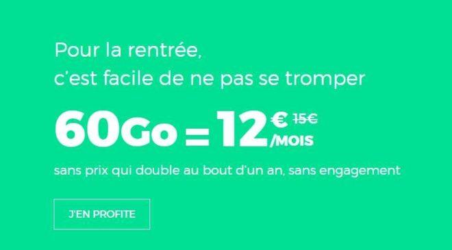 Forfait sans engagement Red by SFR de 60Go à 12€/mois (+ 8Go Europe/DOM) A VIE