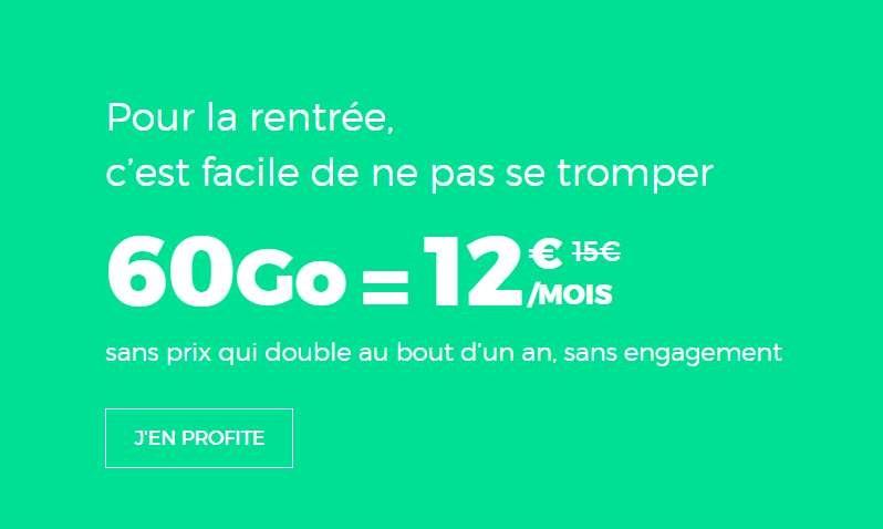 Forfait sans engagement Red by SFR de 60Go à 12€