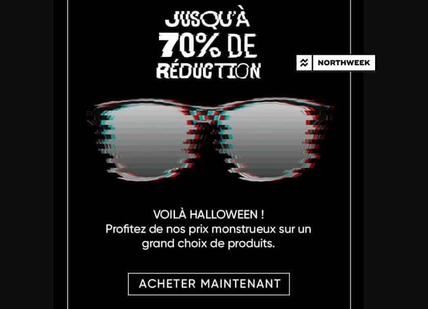 Offre Halloween Northweek jusqu'à -70% sur les lunettes de soleil et casquettes de la marque