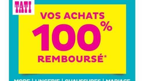 Offre TATI 100% remboursé sur une sélection Mode, Lingerie, Chaussures et Mariage