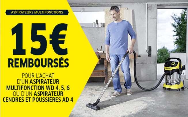 Offre de remboursement 15€ remboursés pour l'achat d'un aspirateur multifonction Karcher