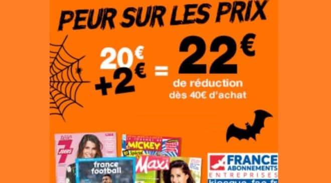 Offre flash Halloween 22€ de remise sur les abonnements magazines