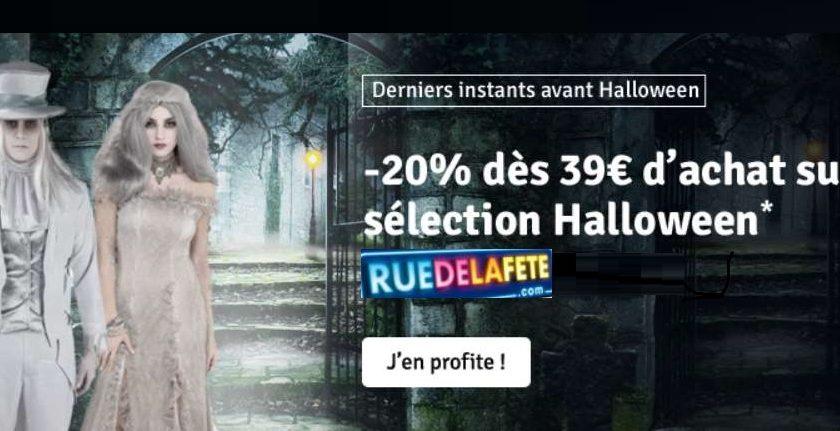 Remise de 20% sur des déguisements et costumes Halloween sur Rue de la Fête