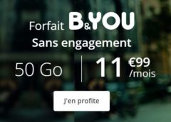Vente flash série spéciale B&YOU 50Go : 11,99€/mois dont 6Go Europe/DOM, 14,99€/mois dont 10Go Europe/DOM sans condition de durée