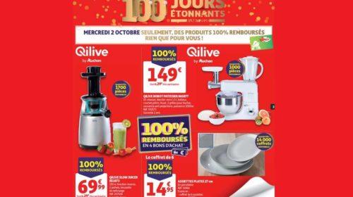Catalogue Auchan des produits 100% remboursés du mercredi 2 octobre 2019