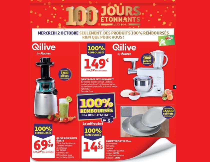 Catalogue Auchan des produits 100% remboursés du mercredi 2