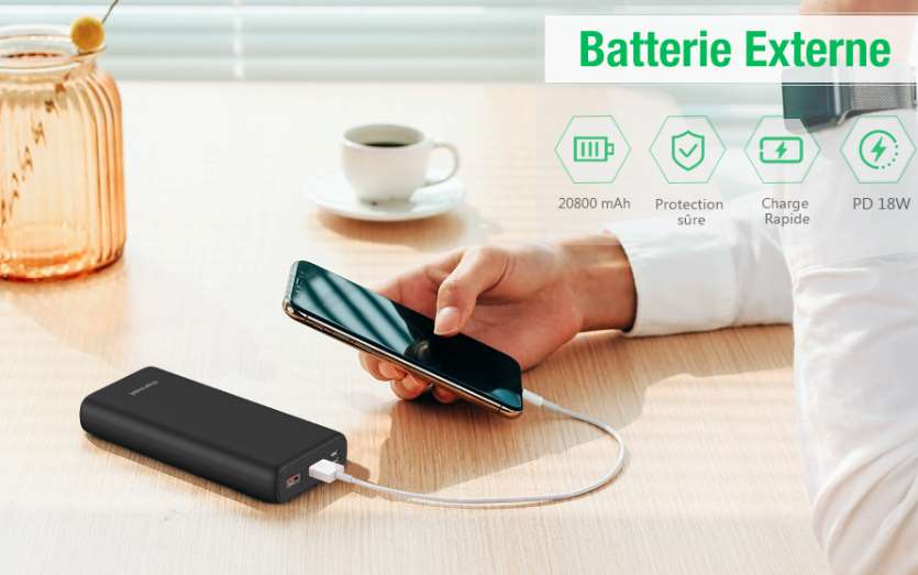 batterie externe Charmast 20800mAh dont port USB C Power Delivery & Quick Charge