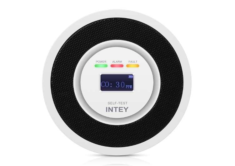 détecteur de monoxyde carbone Intey avec affichage numérique temps réel