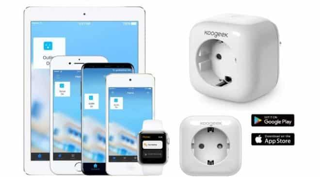 prise connectée Wi-Fi Koogeek appli, Apple HomeKit, Amazon Echo, Google Home Siri, Alexa, Google Assistant