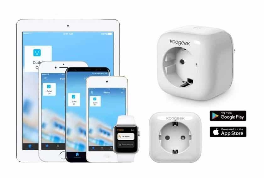 prise connectée Wi-Fi Koogeek appli, Apple HomeKit, Amazon Echo, Google Home Siri, Alexa, Google Assistant