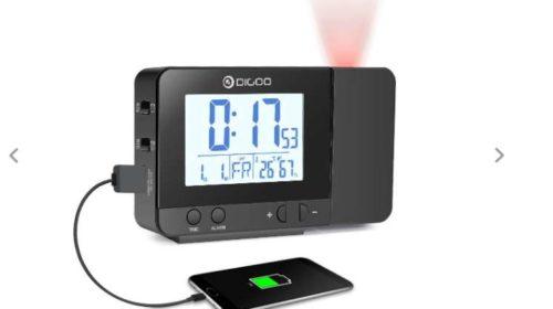 réveil digital avec projection, port USB de charge Digoo DG-C10