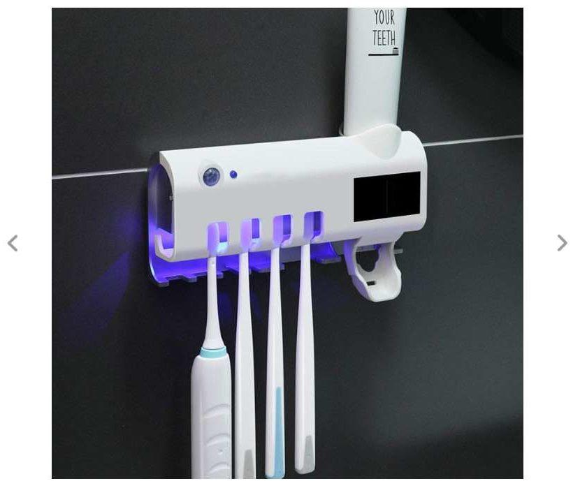 support désinfectant solaire pour brosse à dent, rasoir, tube dentifrice