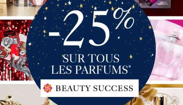25% sur TOUS les parfums et coffrets sur Beauty Success