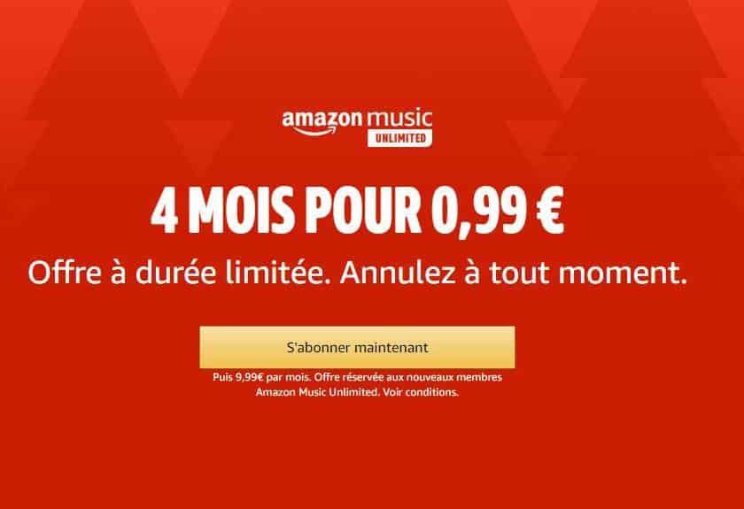 4 mois d'abonnement Amazon Music pour seulement 0,99€