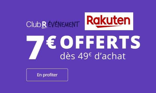 7€ de reduction sur Rakuten à partir de 49€