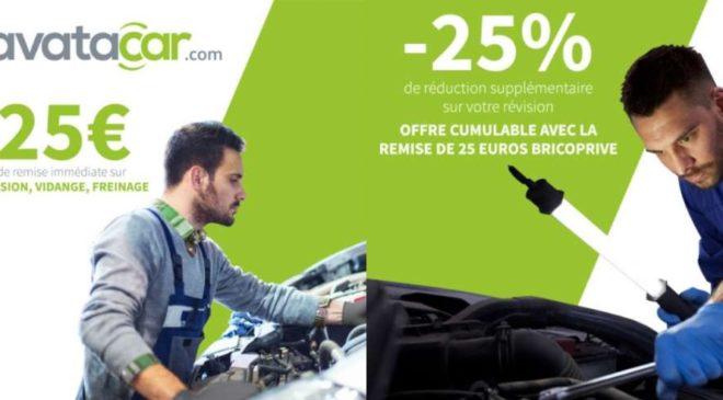 Bon reduction Avatacar -25% + 25€ offerts sur révision constructeur, vidange, entretien ou une prestation de freinage