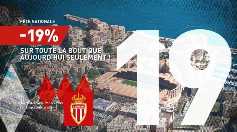 Fête nationale 19% de remise sur toute la boutique AS Monaco