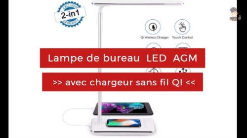 Lampe de bureau LED avec chargeur sans fil Qi intégré AGM