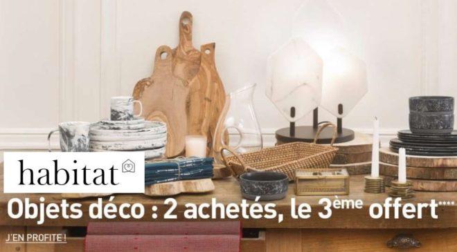 Offre objets déco Habitat 3e offert
