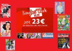 Single's Week KiosqueFae ! -13€ ou -23€ de reduction sur des dizaines d'abonnements magazine (jusqu'à dimanche uniquement)