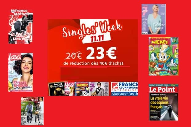 Single's Week KiosqueFae 23€ de reduction sur des dizaines d'abonnements magazine
