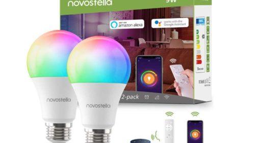 lot de 2 ampoules WiFi LED Novostella avec télécommande et compatibles Google Home et Alexa