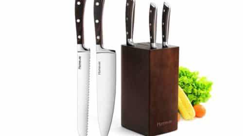 lot de 5 couteaux de cuisine professionnels Homever avec bloc en bois