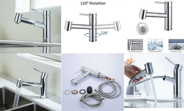 robinet mitigeur pivotant avec douchette extractible pour évier ou lavabo Homelody