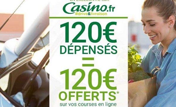 120€ d'achat sur casino drive = 120€ offerts en 4 bons d'achat