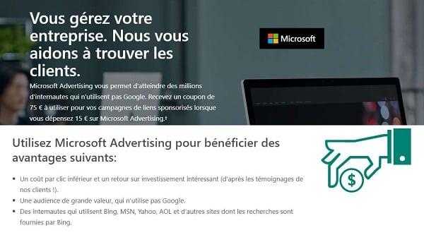Faite 15€ De Publicité Avec Microsoft Advertising Bing, Msn, Yahoo, Aol, Qwant Et Obtenez 75€