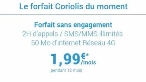 Forfait Coriolis Sans Engagement 2h D'appels,sms Mms Illimités Et 50 Mo D'internet