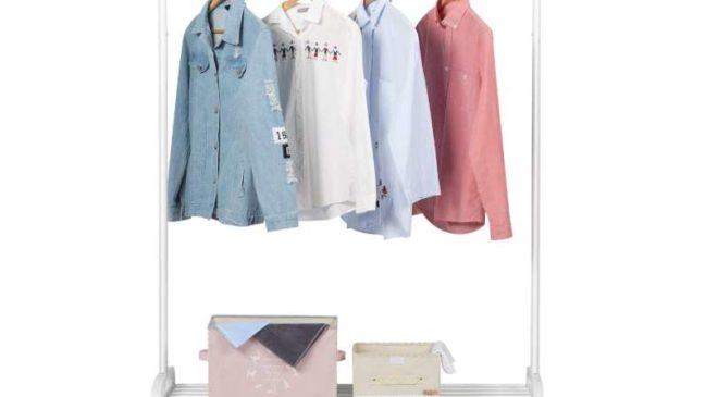 Portant à Vêtements En Métal Blanc Avec Plateau De Rangement à Chaussures Langria