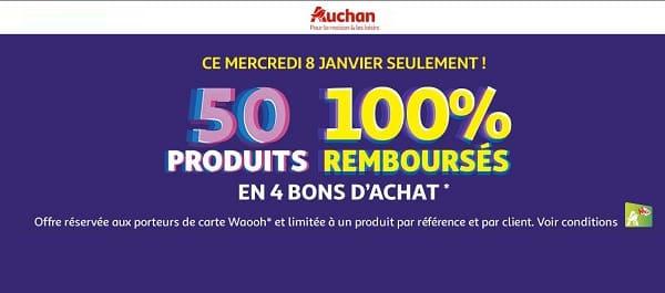 Soldes Mercredi 8 Janvier = 50% Produits 100% Remboursés Chez Auchan