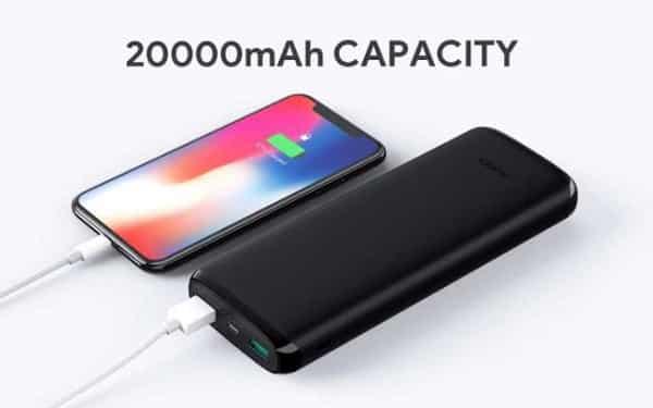 Batterie Externe Aukey 20000 Mah 2 Ports Usb Entrées Micro Usb Et Lightning