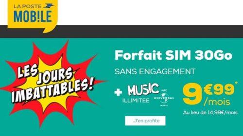 Forfait 30go La Poste Mobile Sans Engagement Tout Illimité Dont Music Illimitee Avec Universal Music