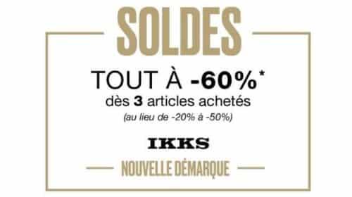 TOus Les Articles Des Soldes Ikks à 60% Dés Achat De 3 Articles