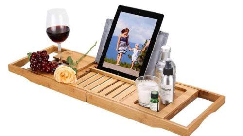 Tablette Support Extensible De Baignoire En Bambou Langria