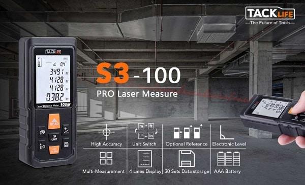Télémètre Laser Numérique 100 Mètres Tacklife S3