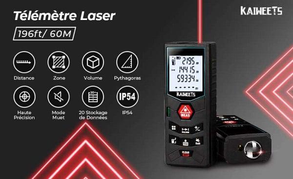 télémètre laser numérique 60 mètres KAIWEETS C60