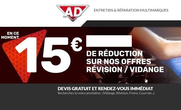 15€ De Remise Sur Les Prestations Révision Ou Vidange Dans Les Garages Ad