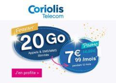 7,99€/mois le forfait sans engagement illimité 20 Go Coriolis (Appels, SMS et MMS illimités) pendant 12 mois