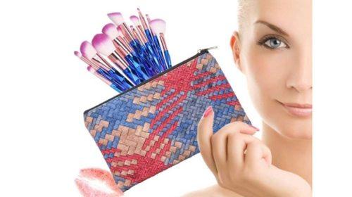 Kit De 12 Pinceaux De Maquillage Anself Colorés Et Pochette De Transport