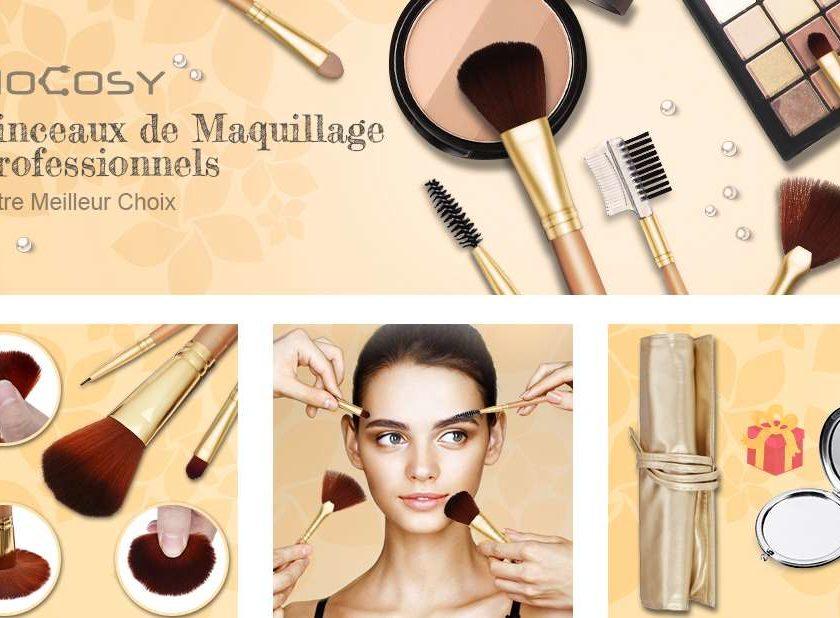 Set De 12 Pinceaux De Maquillage Et Miroir De Poche Avec Pochette Hocosy