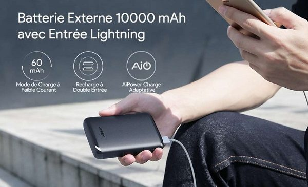 Batterie Externe 10000 Mah Aukey Pb N64 Compacte 2 Ports Usb 2 Entrées Micro Usb Lightning