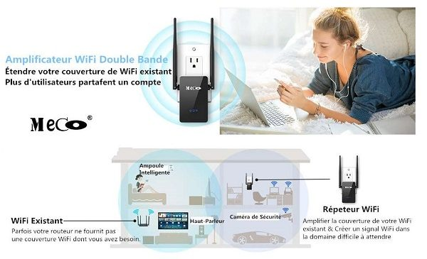 Répéteur Wi Fi 750 Mbps Double Bande Meco Eleverde Ac750