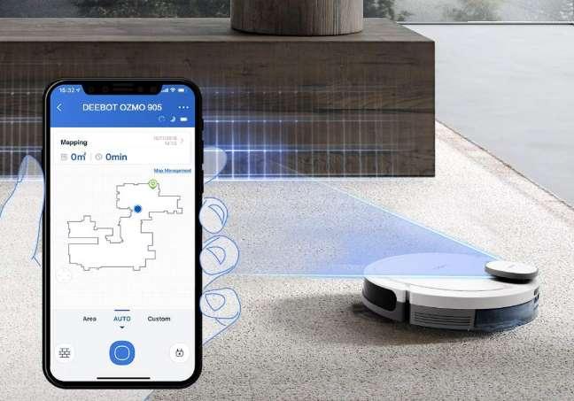 Robot Aspirateur Laveur Connecté 2 En 1 Ecovacs Deebot Ozmo 905