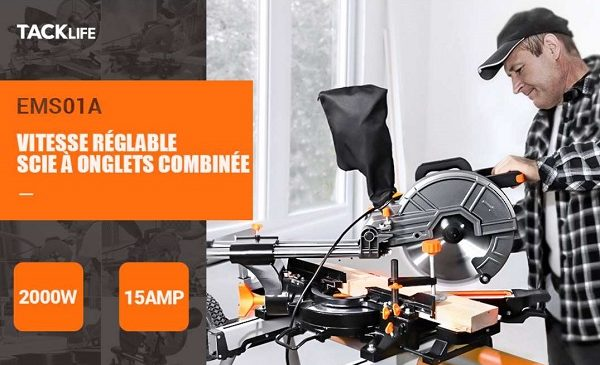 Scie à Onglet Coulissante Tacklife 2000w Avec Guide Laser