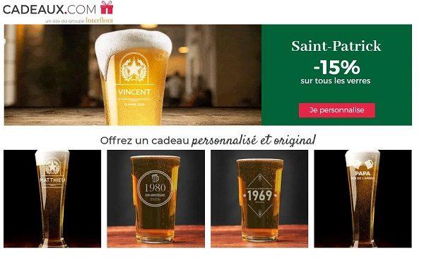 15% De Remise Sur Tous Les Verres Personnalisé à L'occasion De La Saint Patrick