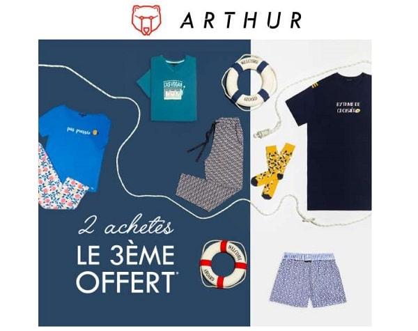 2 articles arthur achetés, le 3ème offert