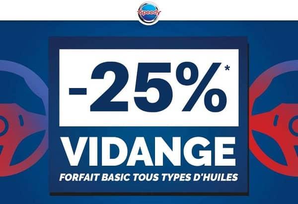 25% Remise Sur Le Forfait Vidange Basic Chez Speedy